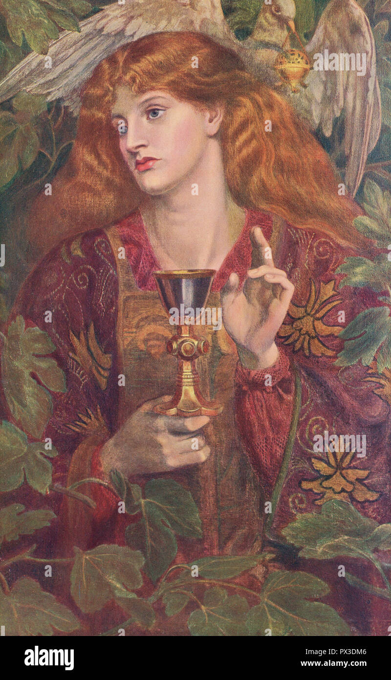 The Damsel of the Sanct Grael by Dante Gabriel Rossetti (1828-1882). - Stock Image