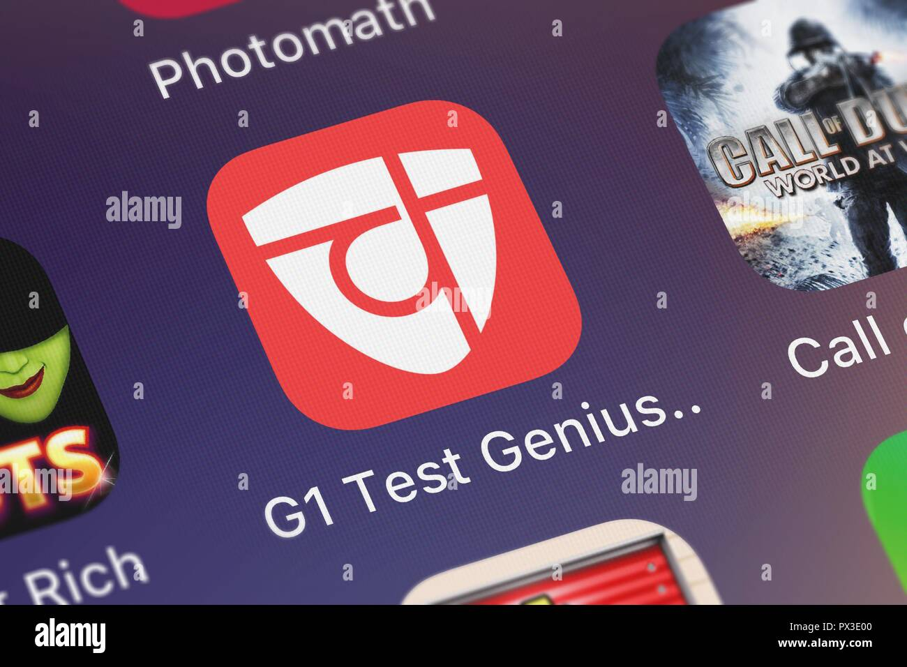 London, United Kingdom - October 19, 2018: Screenshot of the G1 Test Genius Ontario mobile app from Elegant eLearning icon on an iPhone. - Stock Image