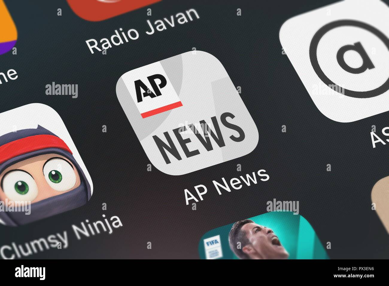 London, United Kingdom - October 19, 2018: Screenshot of the AP News mobile app from The Associated Press icon on an iPhone. - Stock Image