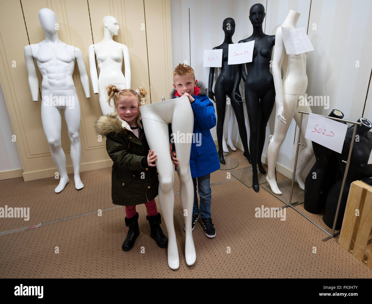 Edinburgh, Scotland, UK. 19 October, 2018. With the imminent closure of iconic Frasers department store on Princes Street in Edinburgh, even the mannequins are for sale as the store tries to make as much money as possible before the doors close for good. Everything in the store is offered at 50% off prices. Credit: Iain Masterton/Alamy Live News - Stock Image