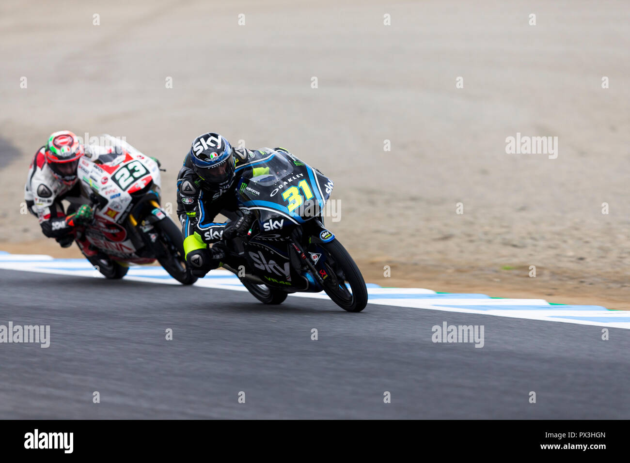 Twin Ring Motegi, Motegi, Japan. 19th Oct, 2018. MotoGP of Japan, Friday free practice; Celestine Vietti and Fabio Di Giannantonio during Moto3 Free Practice 2 Credit: Action Plus Sports/Alamy Live News - Stock Image