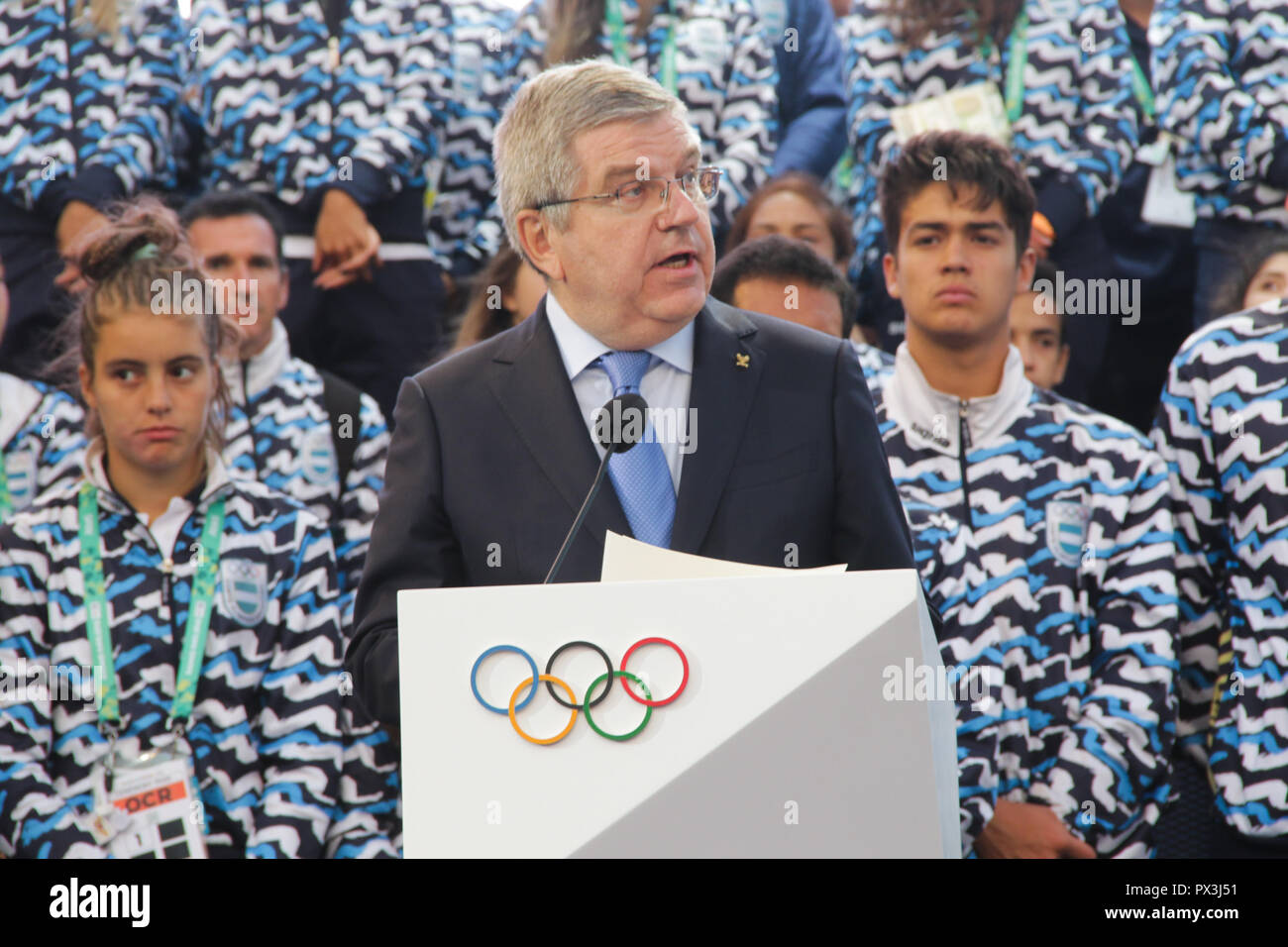 Thomas Bach, president of IOC and authorities during closing ceremony of 3th Youth Olympic Games of Buenos Aires, Argentina.  - Stock Image