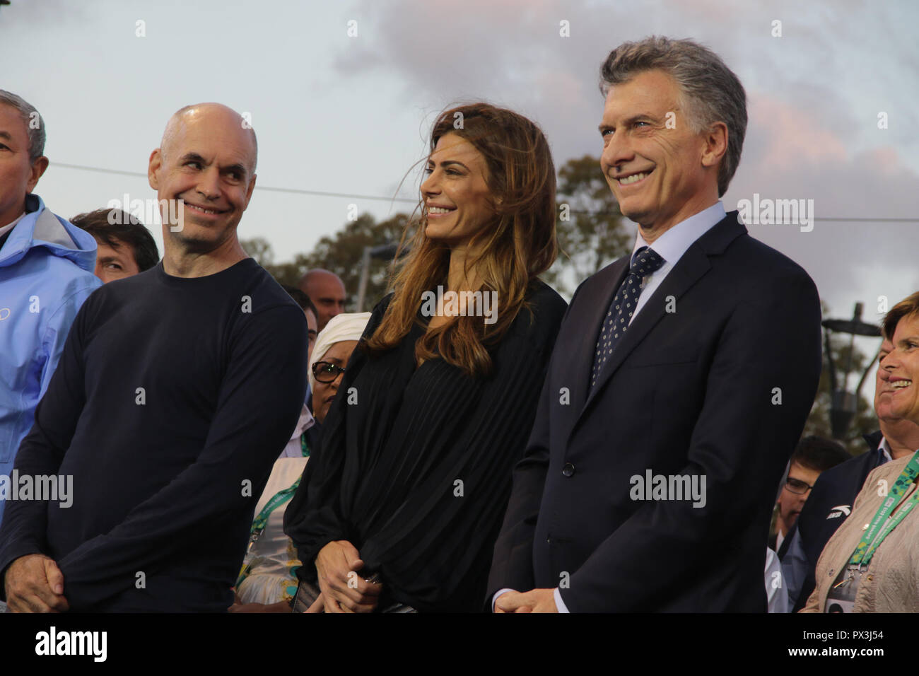 Mauricio Macri, president of Argentina, Thomas Bach, president of IOC and authorities during closing ceremony of 3th Youth Olympic Games of Buenos Aires, Argentina.  - Stock Image