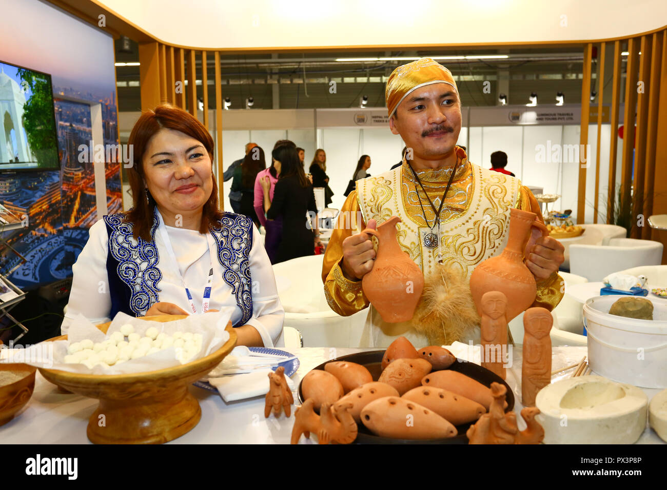Nadarzyn, Poland, 19th October 2018: Kazakhstan stand at World Travel Show, PTAK Expo center.  ©Jake Ratz/Alamy Live News - Stock Image