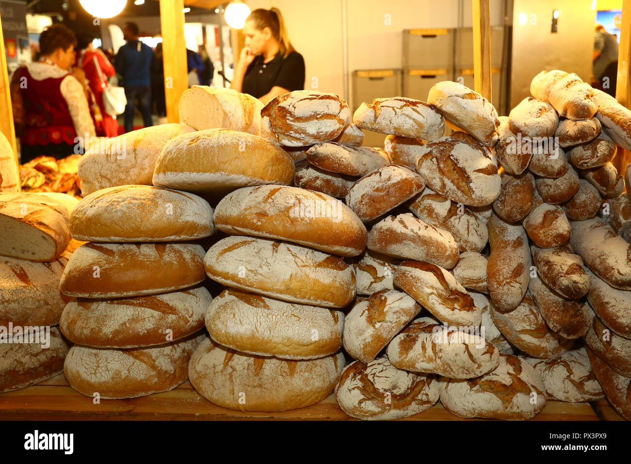 Nadarzyn, Poland, 19th October 2018: Traditional bread stand at World Travel Show. ©Jake Ratz/Alamy Live News - Stock Image