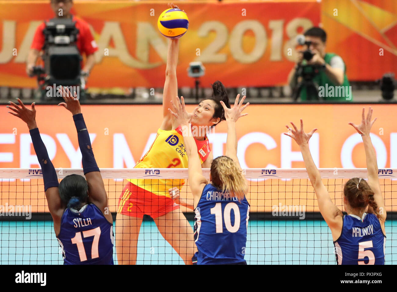 Yokohama Japan 19th Oct 2018 Zhu Ting Top Of China Spikes During The Semifinal Match Against Italy At The 2018 Volleyball Women S World Championship In Yokohama Japan Oct 19 2018 China Lost