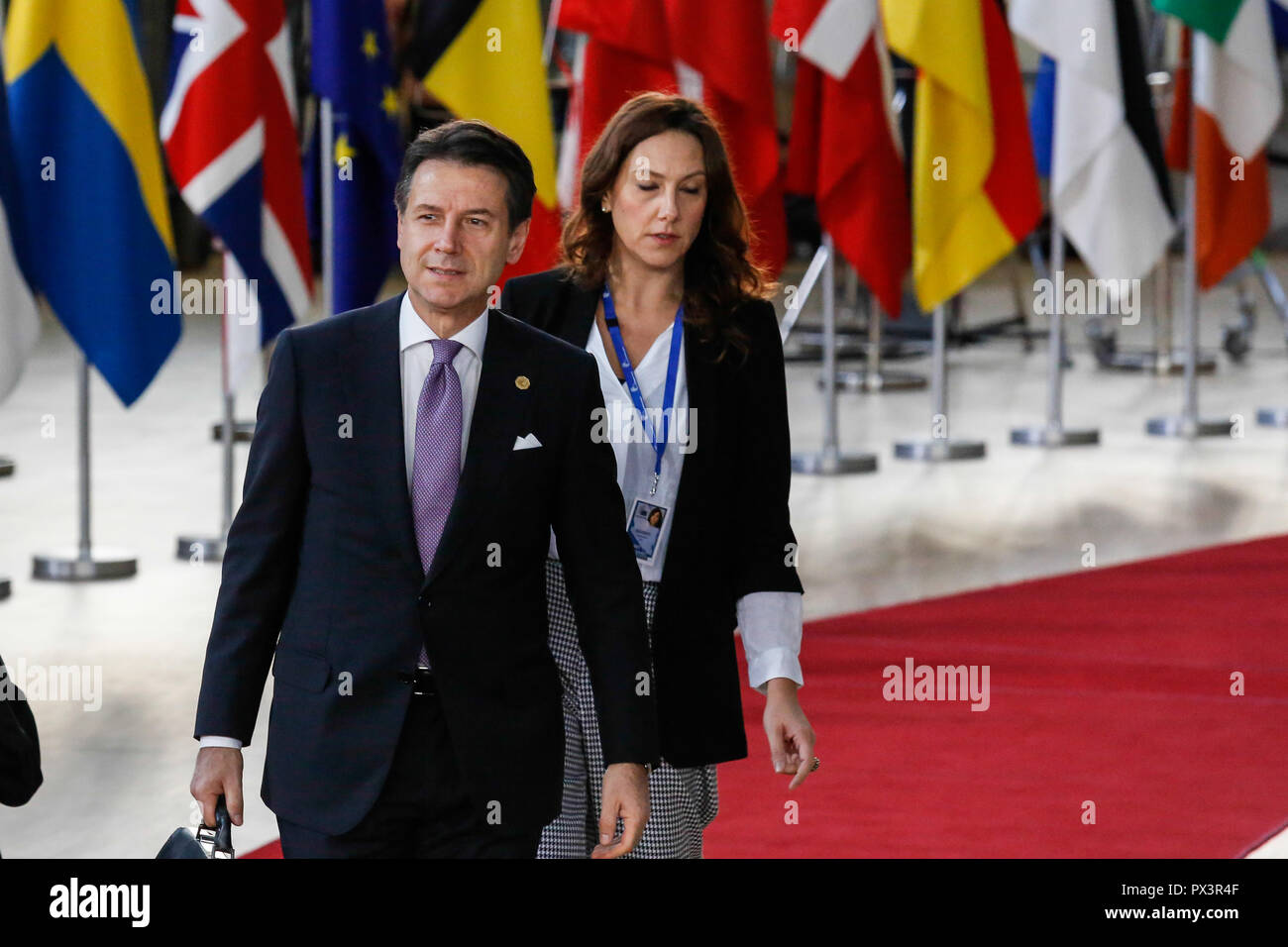 Brussels, Belgium. 18th Oct 2018. Giuseppe Conte, Prime Minister of Italy arrives for European Council meeting in Brussels, Belgium on October 18, 2018. The summit concentrates on migration and security policies. Credit: Michal Busko/Alamy Live News - Stock Image