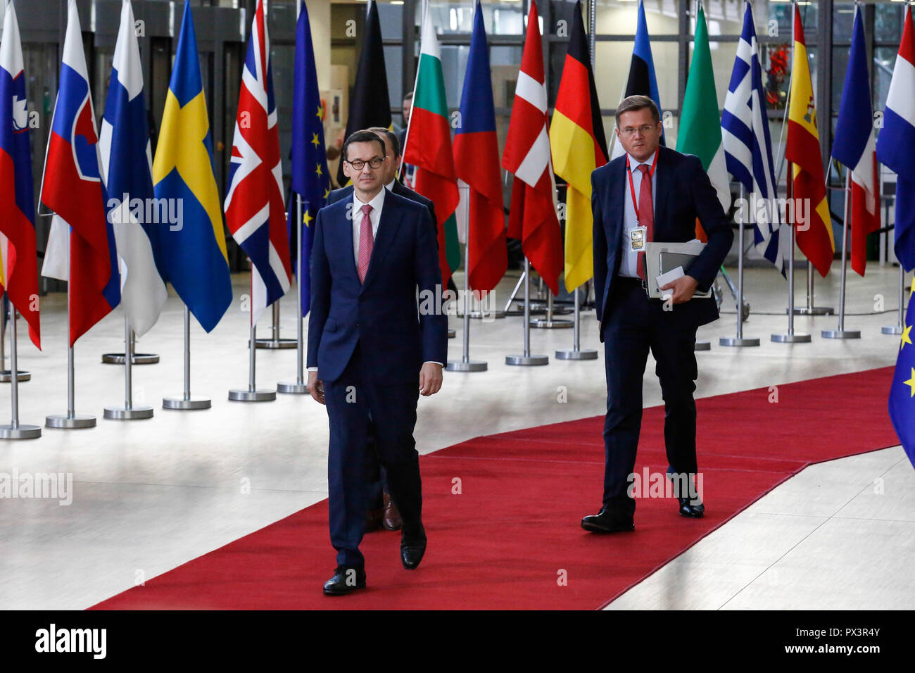 Brussels, Belgium. 18th Oct 2018. Mateusz Morawiecki, Prime Minister of Poland arrives for European Council meeting in Brussels, Belgium on October 18, 2018.The summit concentrates on migration and security policies. Credit: Michal Busko/Alamy Live News - Stock Image