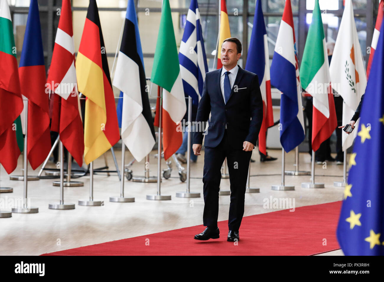 Brussels, Belgium. 18th Oct 2018. Xavier Bettel, Prime Minister of  Luxemburg arrives for European Council meeting in Brussels, Belgium on October 18, 2018. The summit concentrates on migration and security policies. Credit: Michal Busko/Alamy Live News - Stock Image