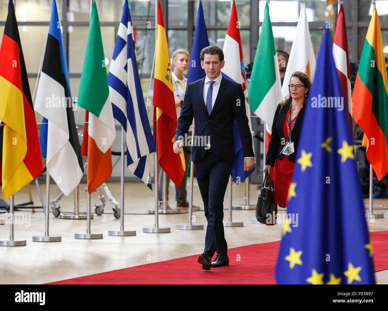Brussels, Belgium. 18th Oct 2018. Sebastian Kurz, the Federal Chancellor of Austria arrives for European Council meeting in Brussels, Belgium on October 18, 2018.The summit concentrates on migration and security policies. Credit: Michal Busko/Alamy Live News - Stock Image
