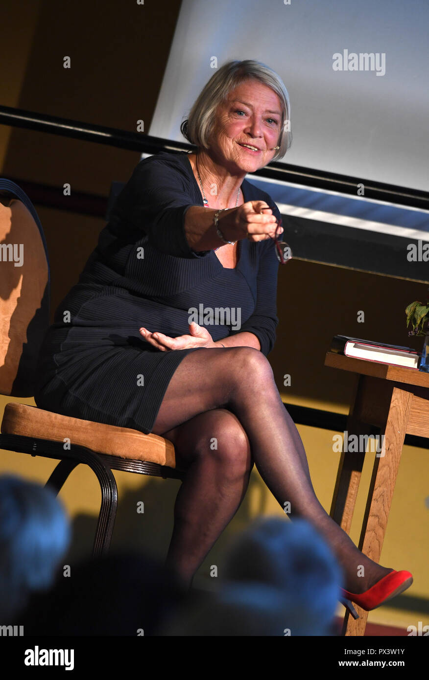 Kate Adie at Dorchester Literary Festival, Kate Adie, English journalist, Credit: Finnbarr Webster/Alamy Live News - Stock Image