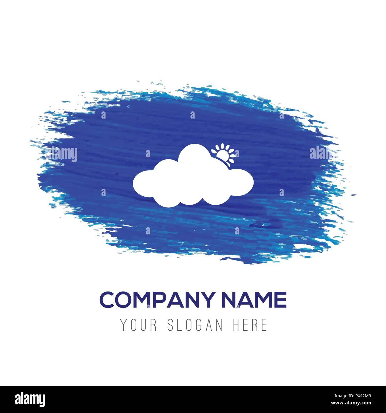 Sun Cloud Icon - Blue watercolor background - Stock Vector