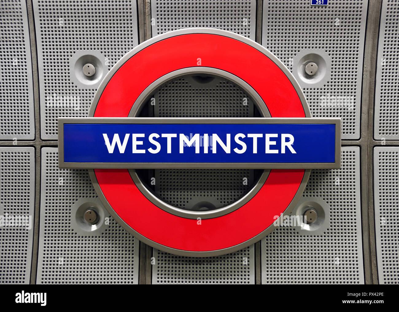 Westminster Underground Station Sign. London, United Kingdom. - Stock Image