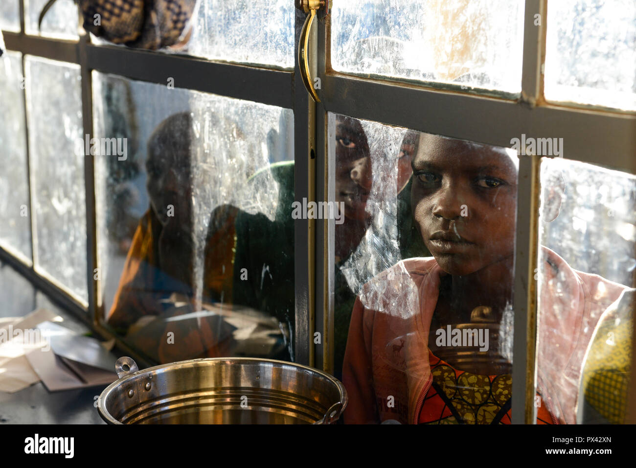 TANZANIA Mara, Tarime, village Masanga, region of the Kuria tribe who practise FGM Female Genital Mutilation, temporary rescue camp of the Diocese Musoma for girls which escaped from their villages to prevent FGM - Stock Image