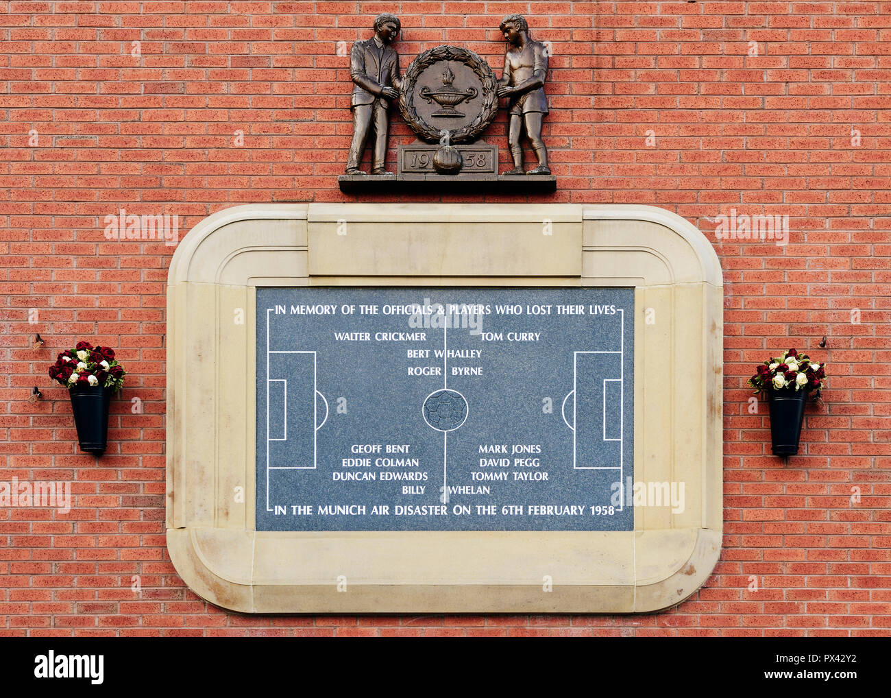 Munich Air Crash Memorial, Old Trafford, Manchester, UK - Stock Image