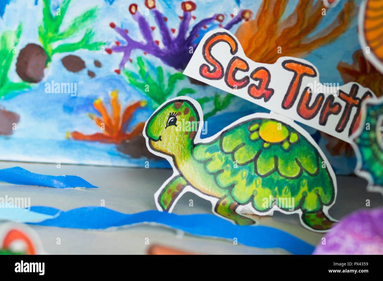 paper art sea turtle - Stock Image