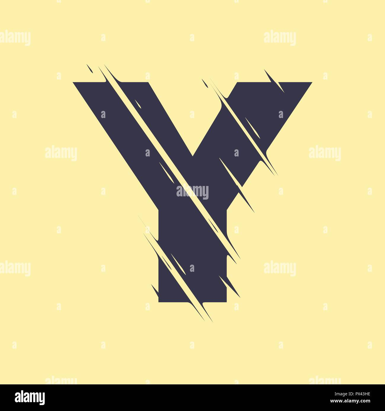 Scribble letter Y isolated on yellow background. Adjustment possibility. Individual elements. - Stock Image