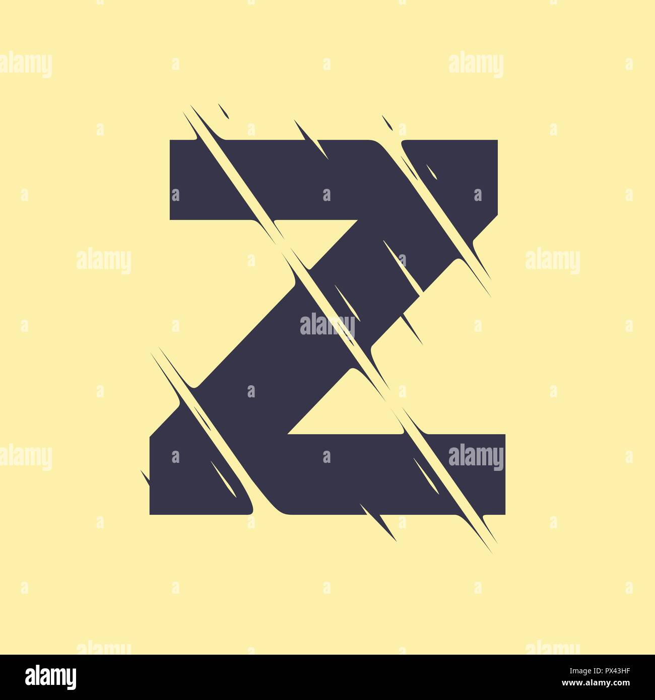 Scribble letter Z isolated on yellow background. Adjustment possibility. Individual elements. - Stock Image
