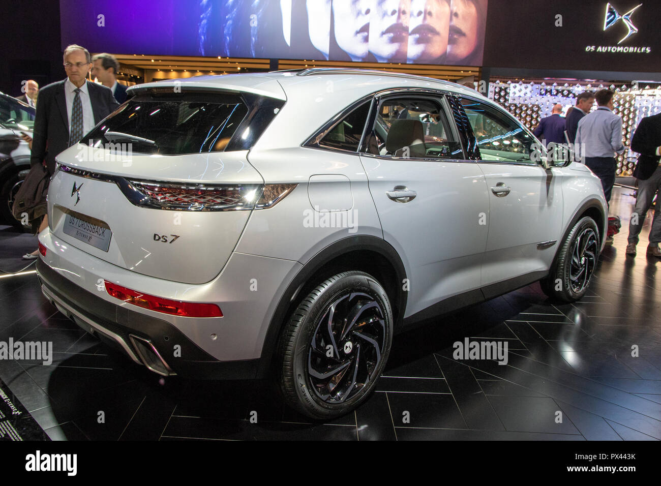 paris oct 2 2018 citroen ds7 crossback e tense car showcased at the paris motor show stock. Black Bedroom Furniture Sets. Home Design Ideas