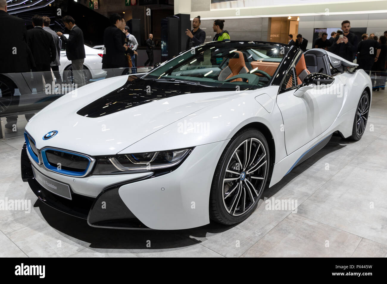 Paris Oct 2 2018 Bmw I8 Roadster Electric Sports Car Showcased