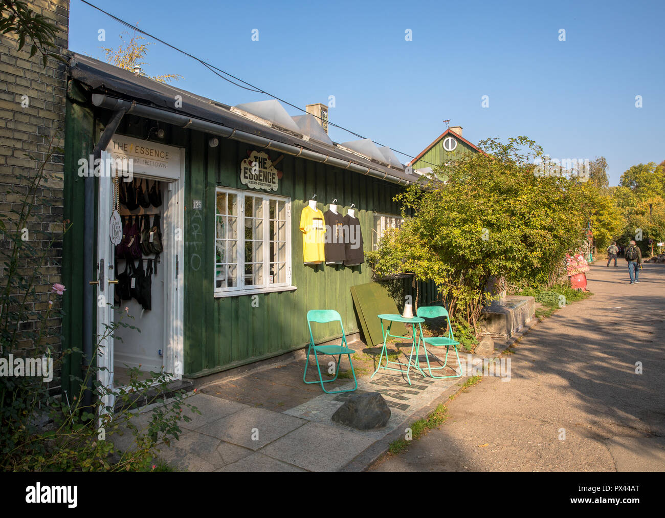 COPENHAGEN, DENMARK - October 2018: Small shop in Freetown Christiania, a self-proclaimed autonomous neighbourhood in Copenhagen. Stock Photo