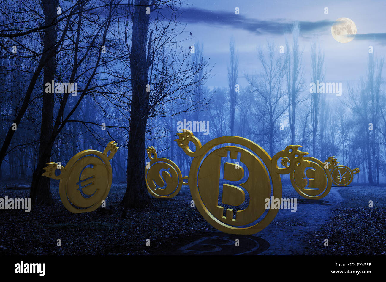 currency bears on the path through foggy forest at night in full moon light. crypto or trade Halloween concept. 3d illustration - Stock Image