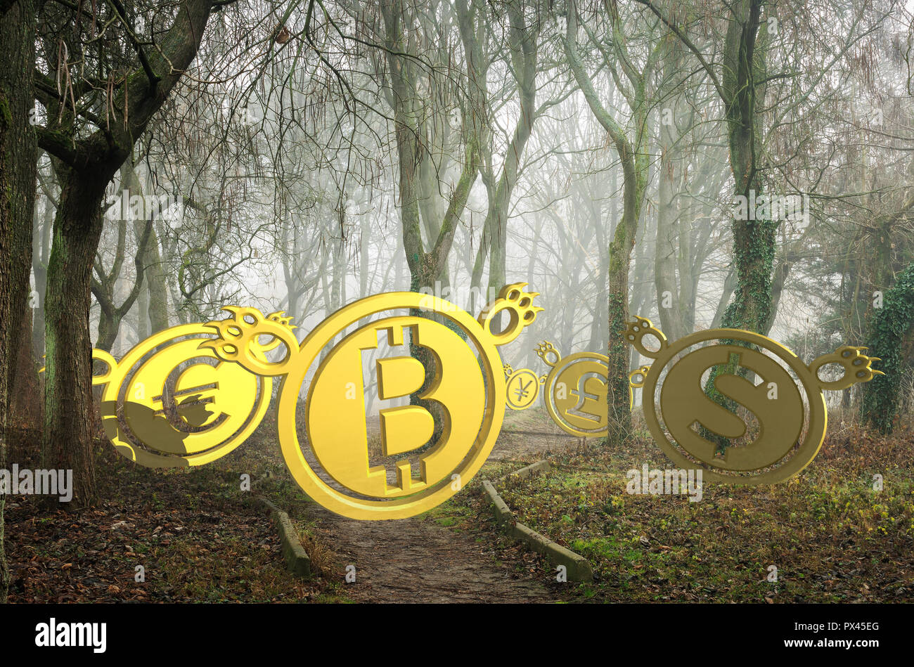 coin bears lost in foggy forest at the bottom of the valley. bearish currency descending trend. creepy deep autumn scenery. horror Halloween trading c - Stock Image