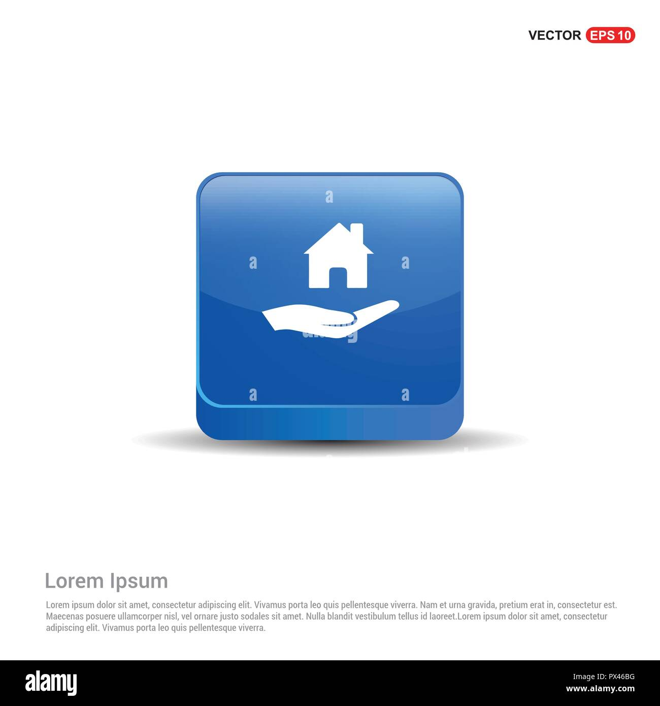 Hands holding house icon - 3d Blue Button. - Stock Image