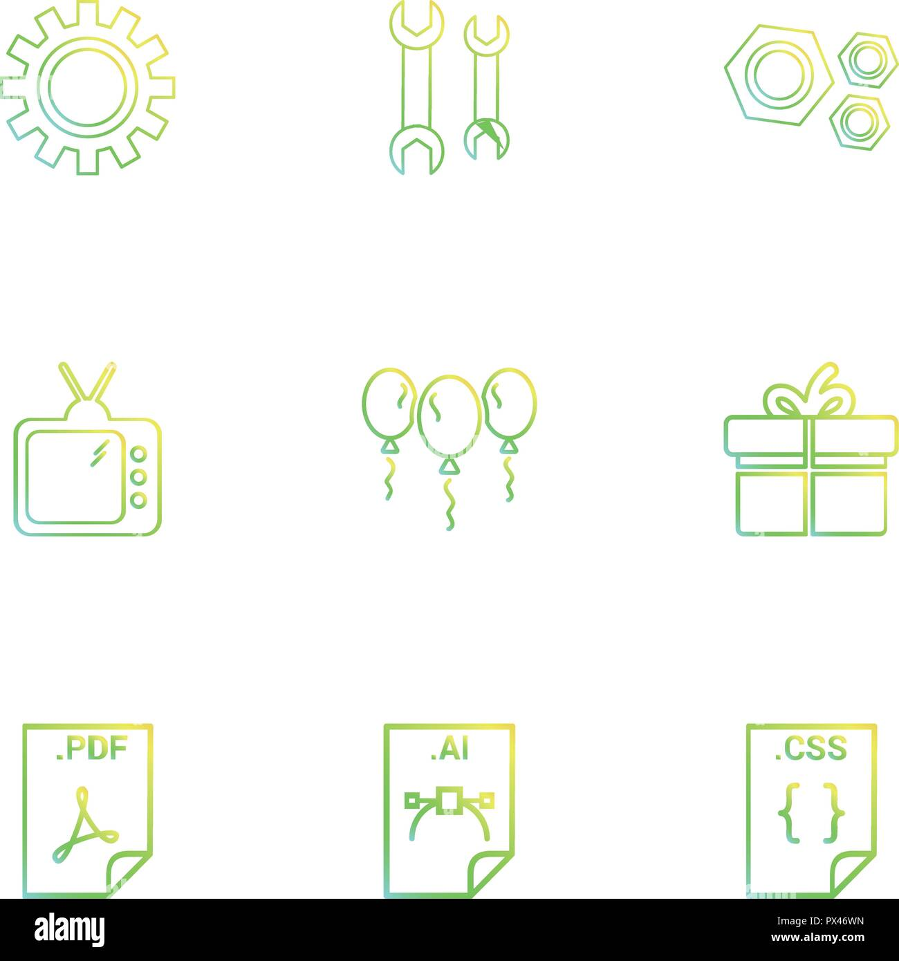 Gear , wrench, nut bolt , tv , balloons , giftbox , pdf file , ai