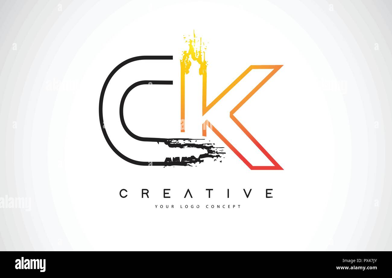 CK Creative Modern Logo Design Vetor with Orange and Black