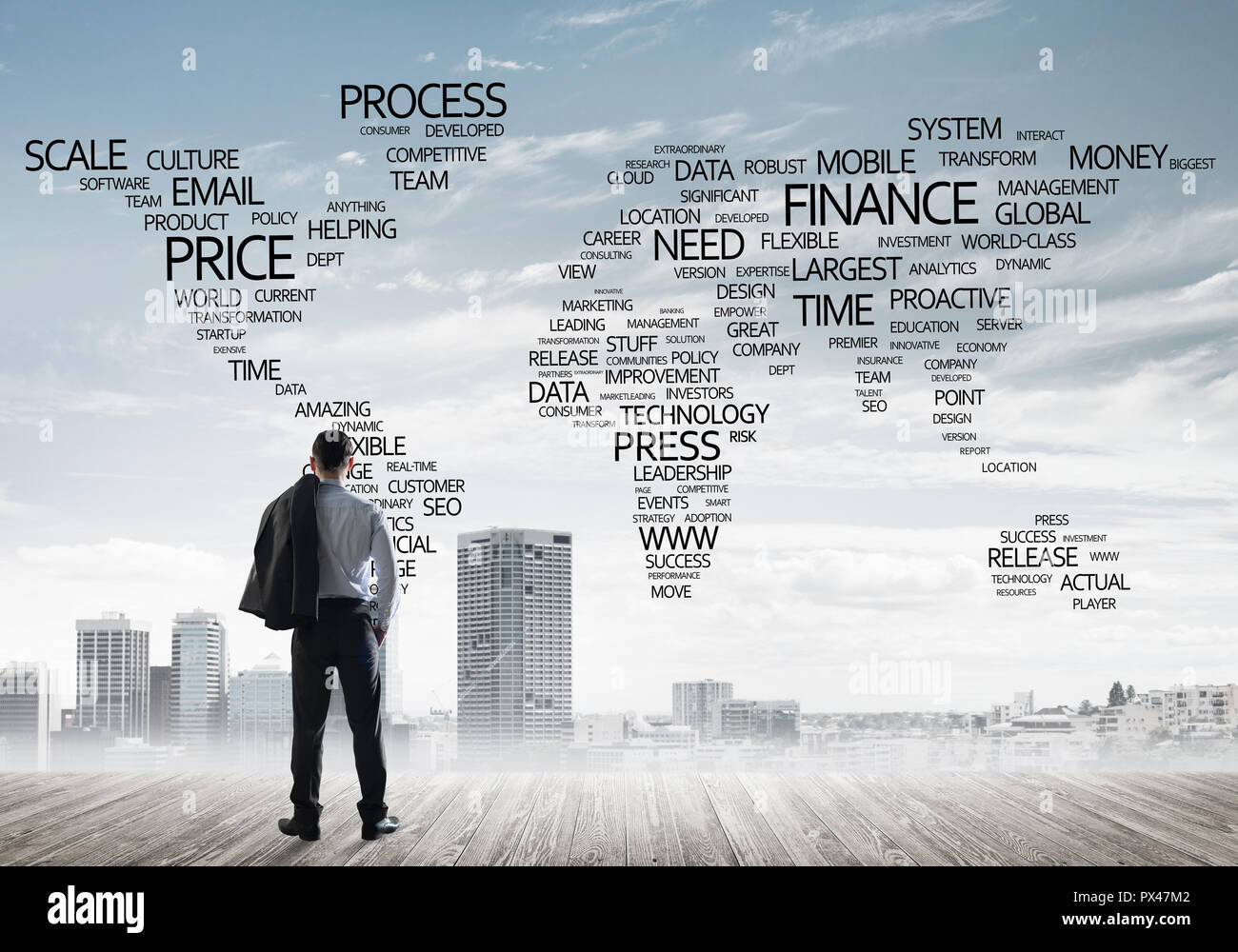 Motivation And Inspiration Concept With Modern Cityscape And Businessman Observing It Stock Photo Alamy