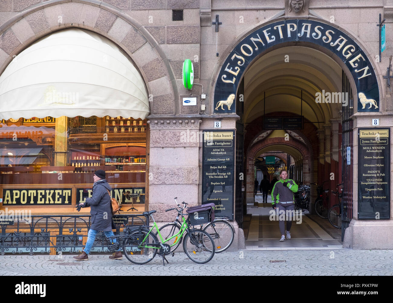 Bicycle and passageway, Malmo, Sweden - Stock Image