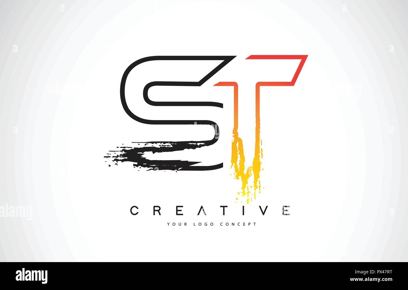 St S T Creative Modern Logo Design Vetor With Orange And