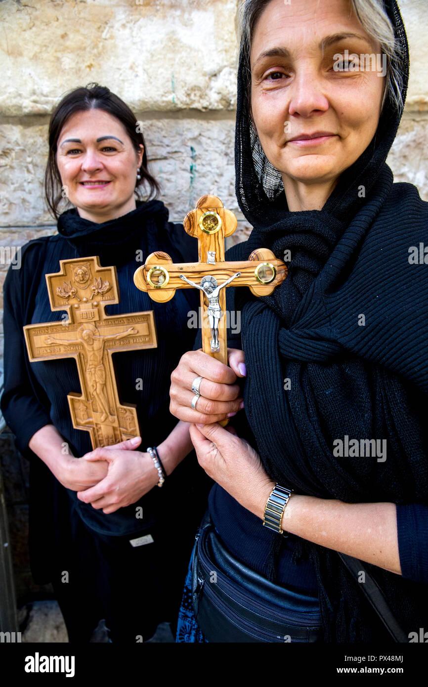 Serbian orthodox pilgrims in Jerusalem, Israel. - Stock Image