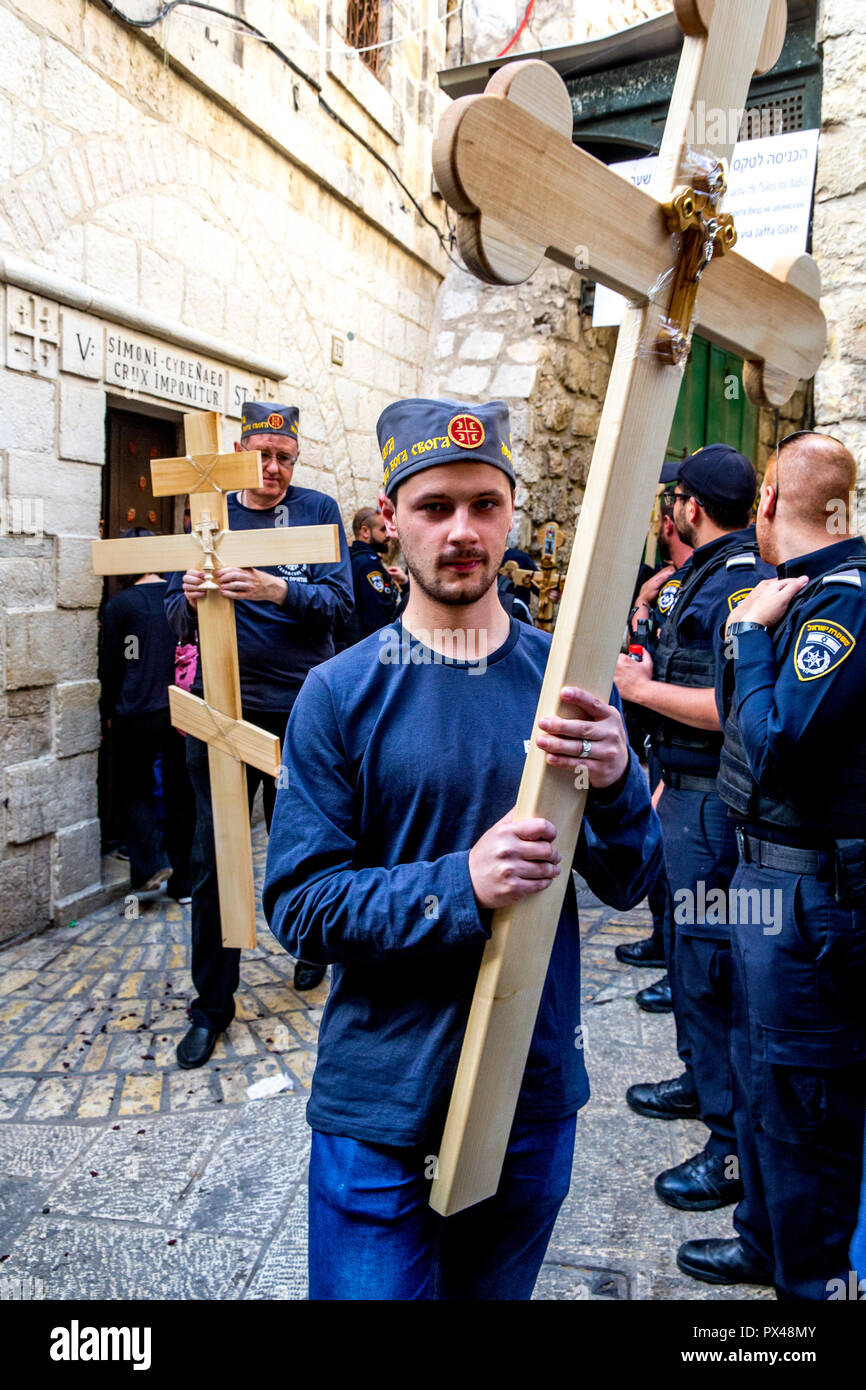 Orthodox Good Friday procession in Jerusalem, Israel. - Stock Image