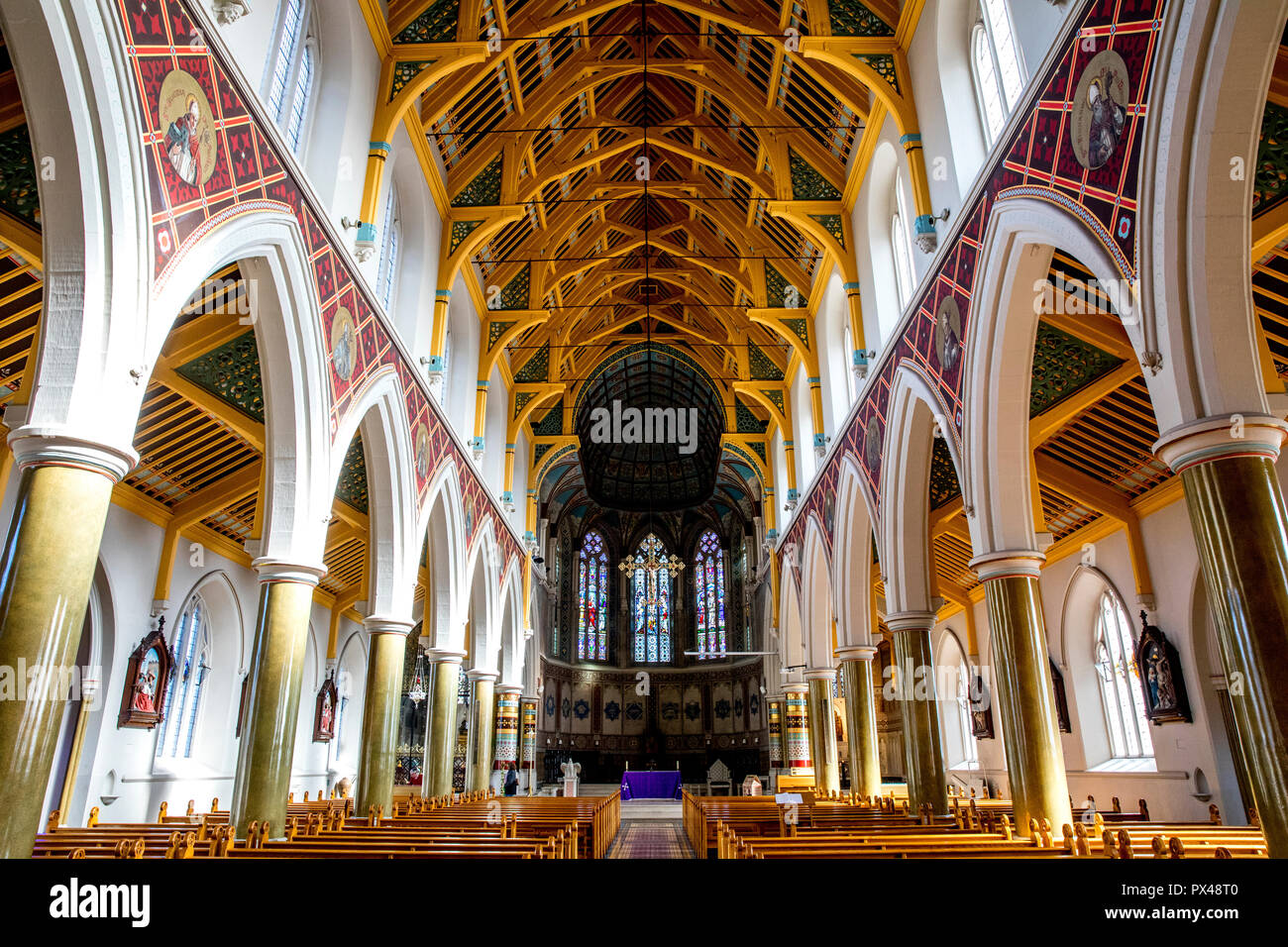 St Peter's catholic cathedral, Belfast, Northern Ireland. Nave. Ulster, U.K. - Stock Image