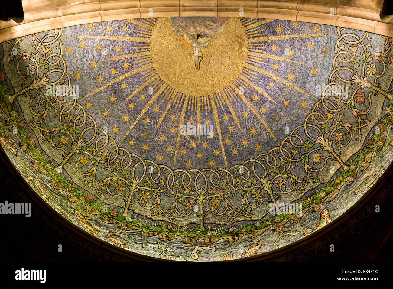 St Ann's Belfast protestant cathedral, Northern Ireland. Baptistery ceiling mosaic. Hand of god. Ulster, U.K. - Stock Image