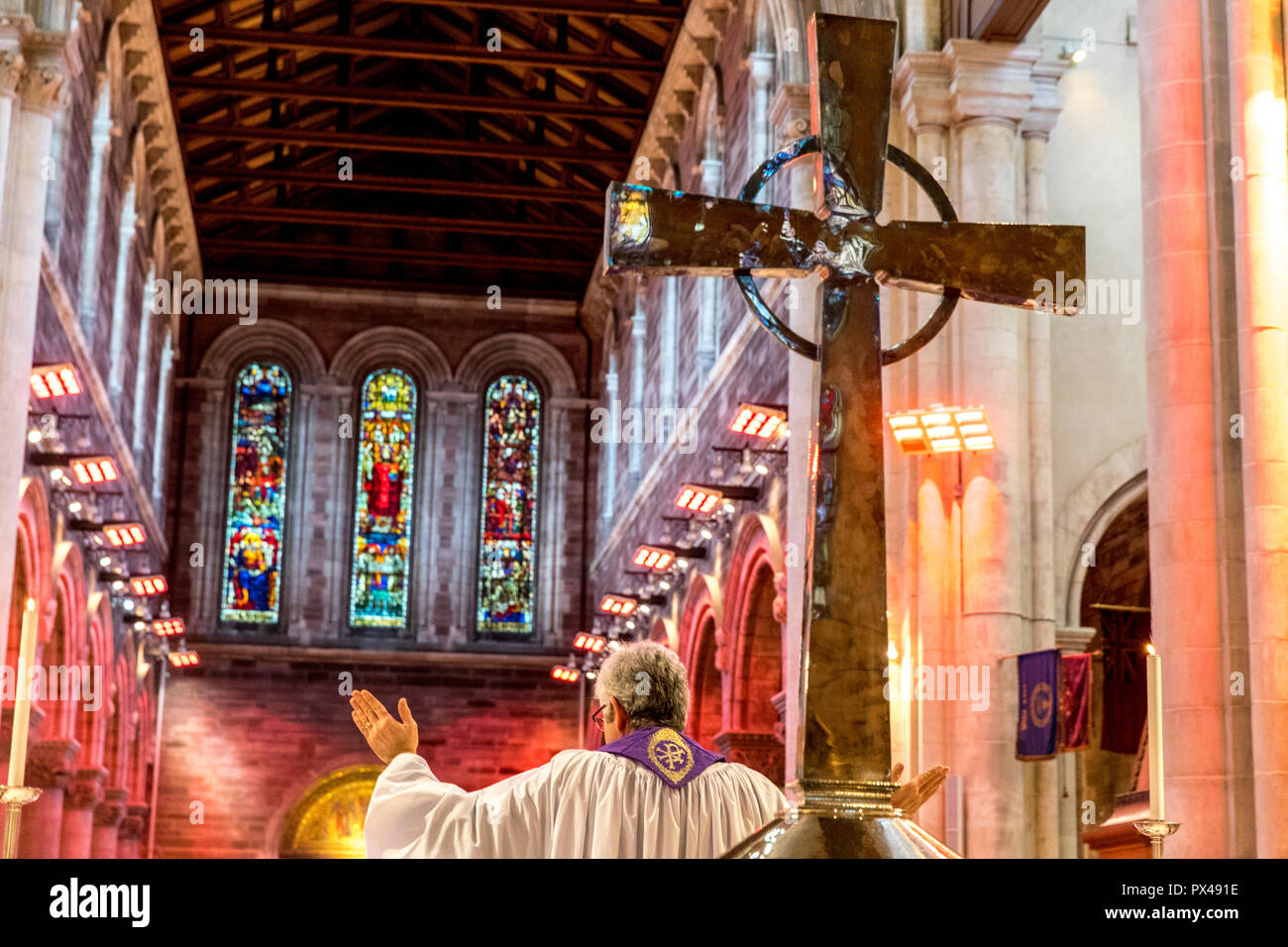 St Ann's Belfast protestant cathedral, Northern Ireland. Sunday service. Ulster, U.K. - Stock Image