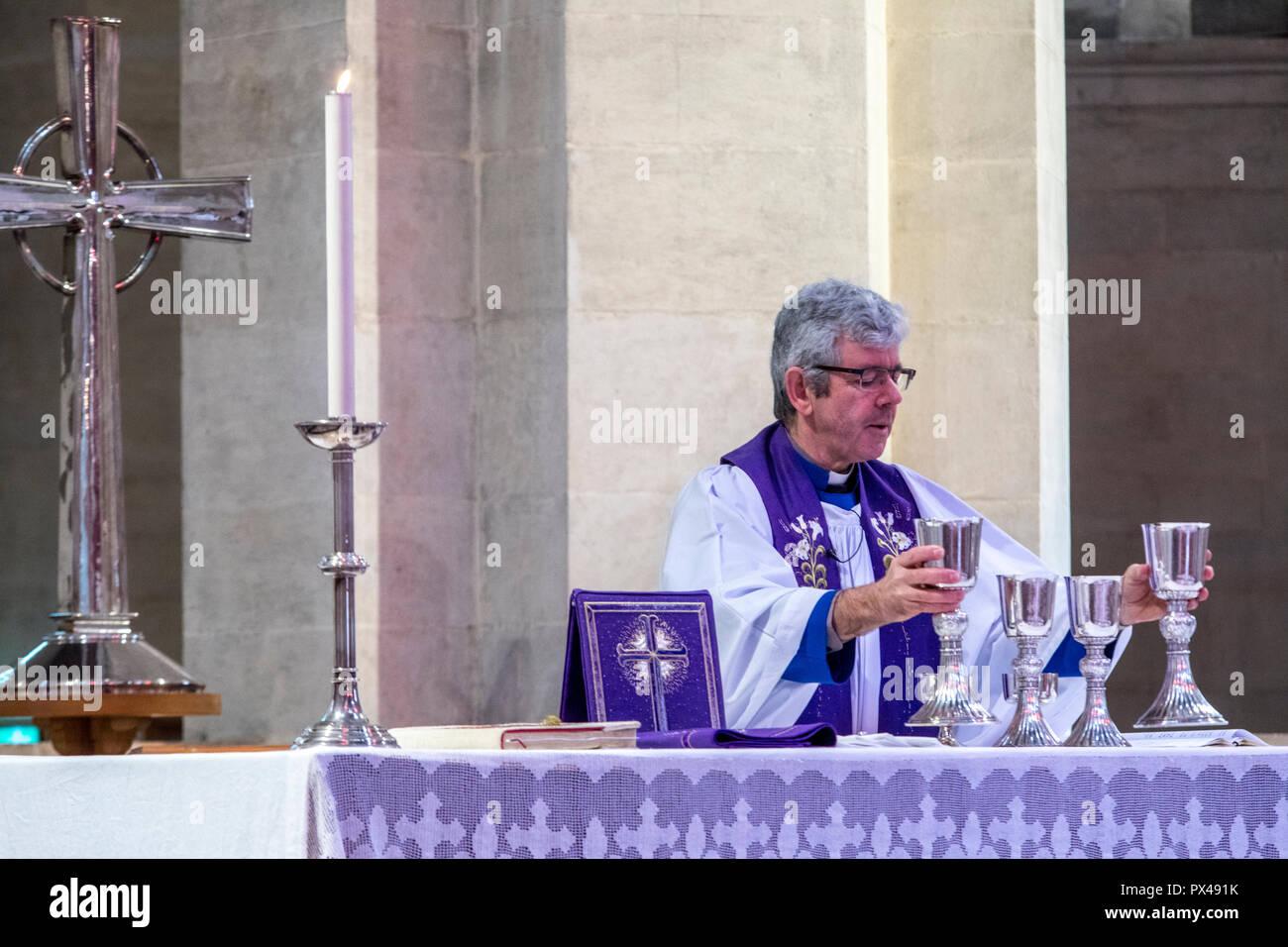 Belfast protestant cathedral, Northern Ireland. Eucharist celebration. Ulster, U.K. - Stock Image