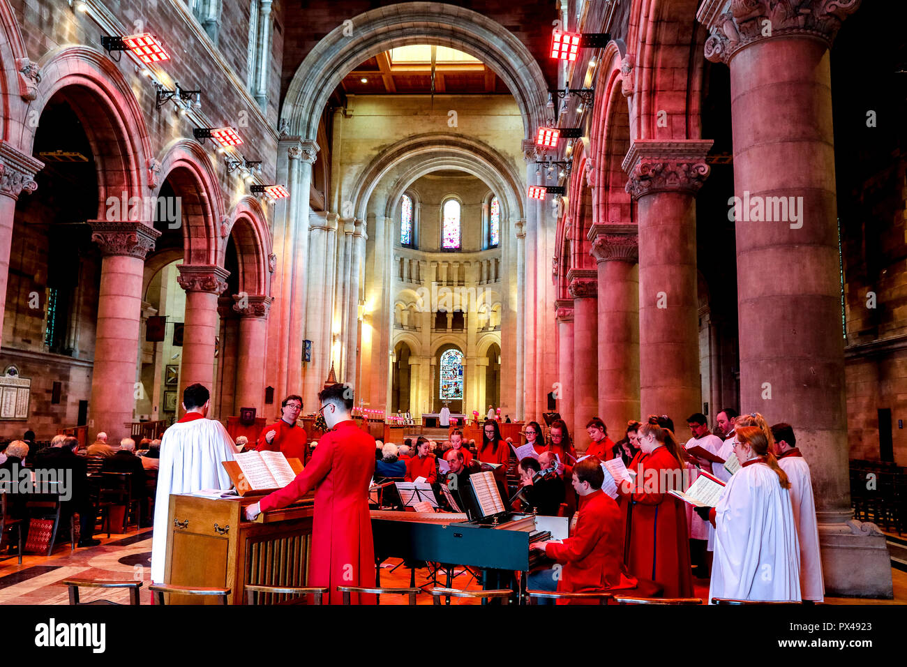 St Ann's Belfast protestant cathedral, Northern Ireland. Sunday service. Choir. Ulster, U.K. - Stock Image