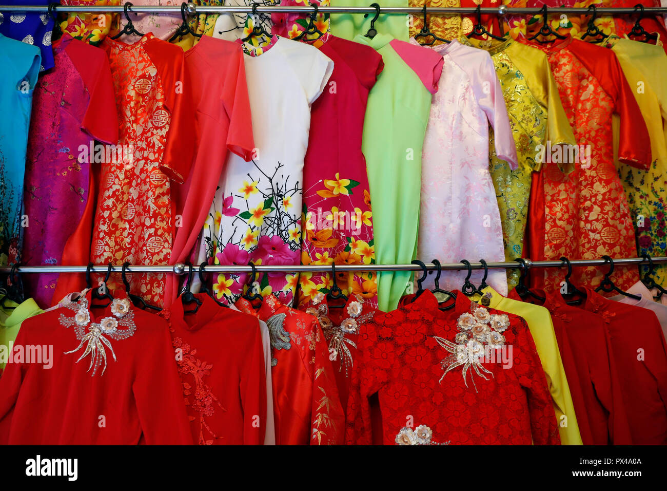 37f503e9d Colorful Vietnamese traditional long dress Ao Dai for sale in a shop. Ho  Chi Minh City. Vietnam.