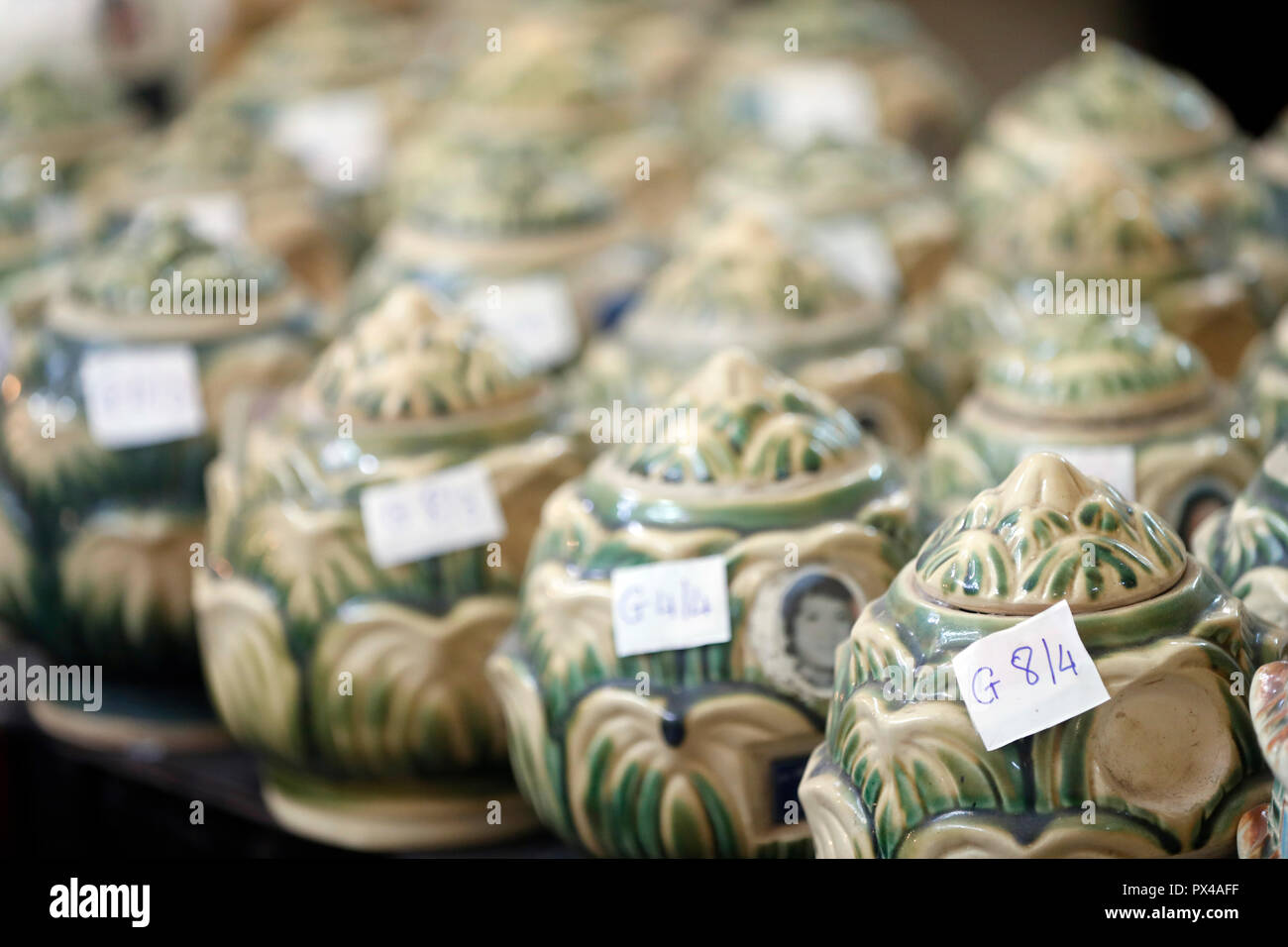 Tinh Xa Ngoc Tin  buddhist temple. Columbarium. Cineray urns. Dalat. Vietnam. - Stock Image