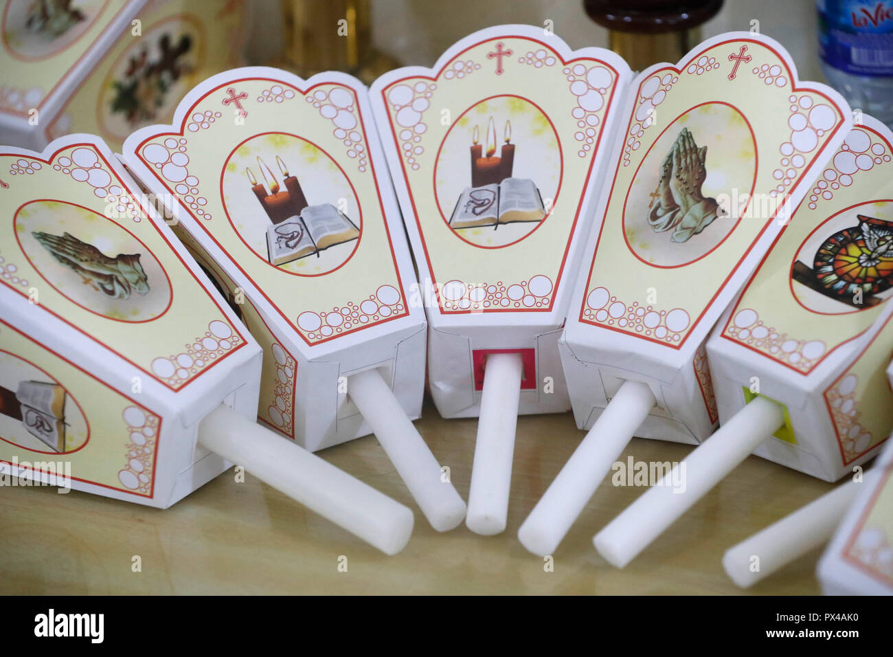Gia Dinh Church. Church candles for procession. Ho Chi Minh City. Vietnam. Stock Photo