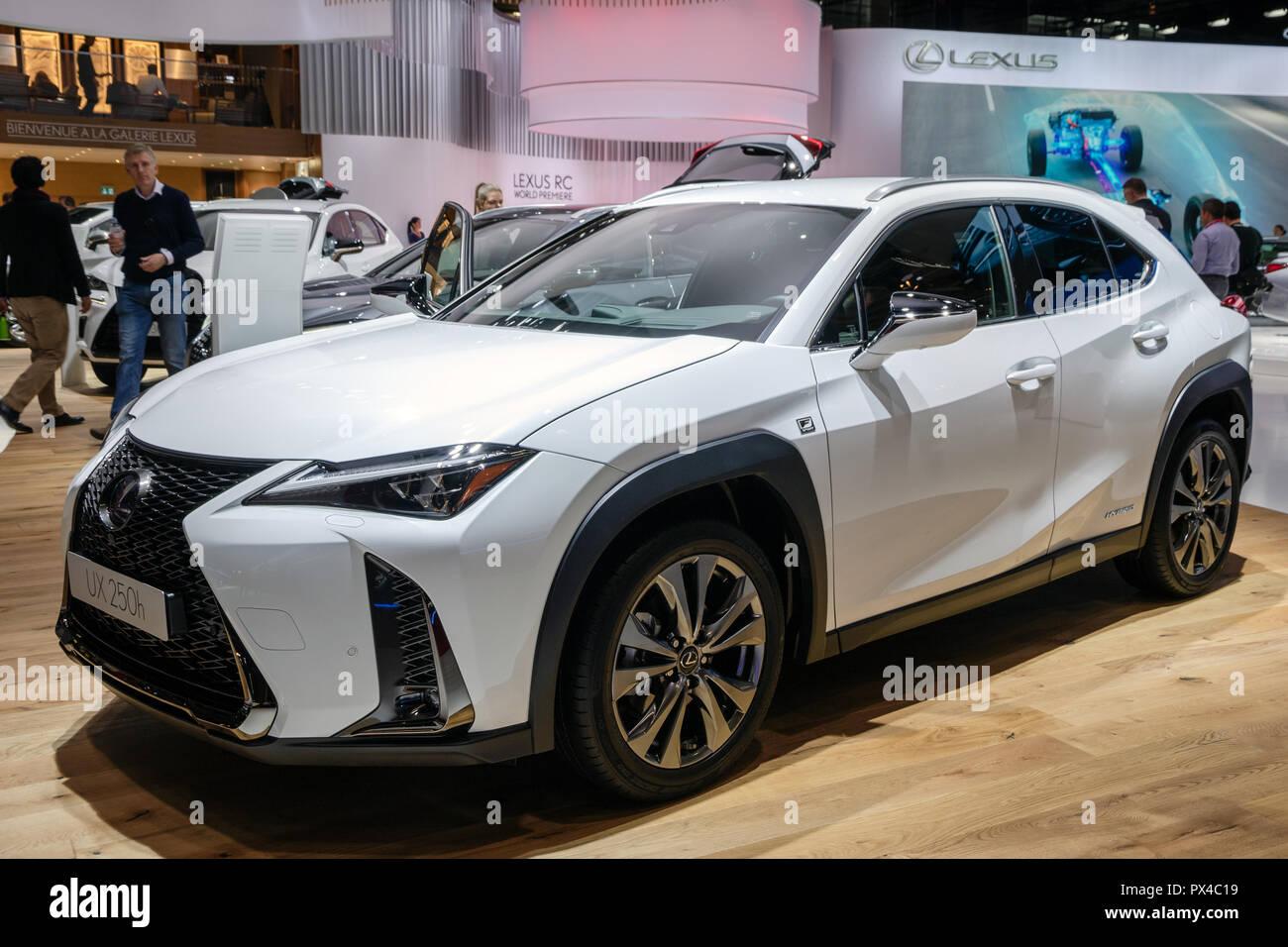 paris - oct 2, 2018: new 2019 lexus ux 250h hybrid crossover suv car