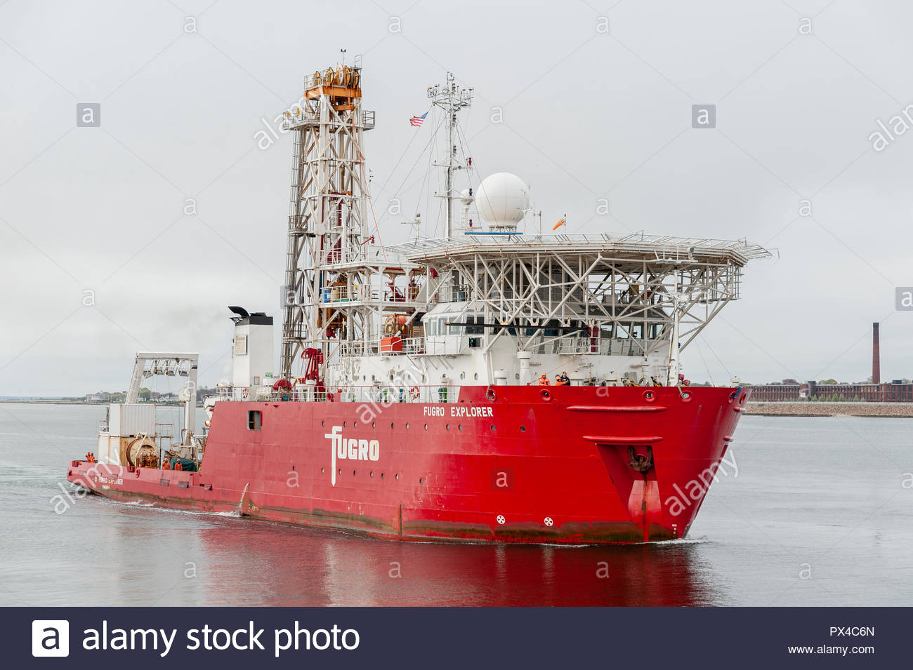 New Bedford, Massachusetts, USA - May 10, 2018: Geotechnical drilling ship Fugro Explorer approaching New Bedford from Buzzards Bay. - Stock Image