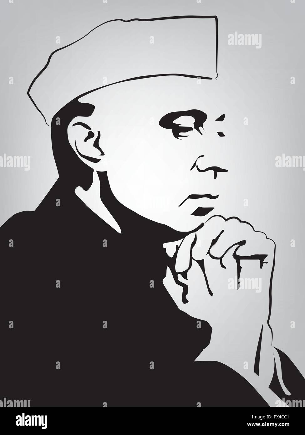1st Prime Minister of India, Jawaharlal Nehru(1889 –  1964), He was also known as Pandit Nehru. - Stock Image