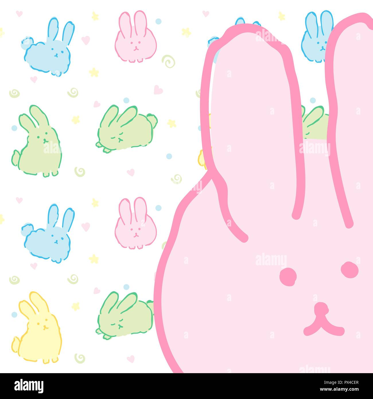 Bunnies Background Card With Pattern Cute Rabbits Fluffy Kawaii Wallpaper Pink Bunny Design Close Up Portrait Of Rabbit Easter Hare D