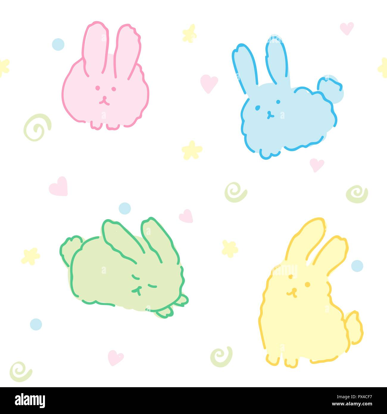 Image of: Cat Fluffy Bunnies Wallpaper Seamless Pattern Cute Rabbits Kawaii Animals In White Alamy Fluffy Bunnies Wallpaper Seamless Pattern Cute Rabbits Kawaii