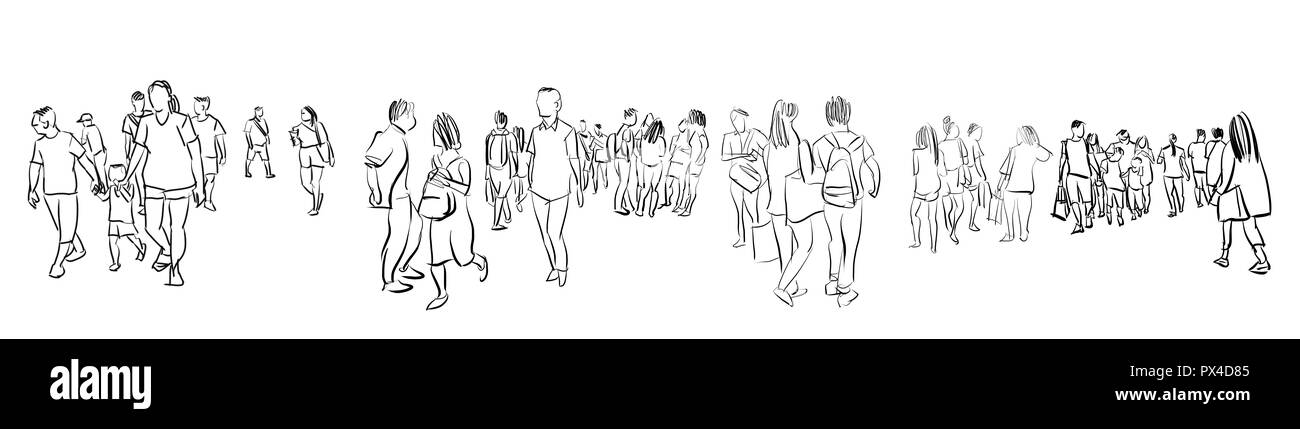 crowd group of people walking freehand ink sketch panorama view isolated on white background - Stock Image