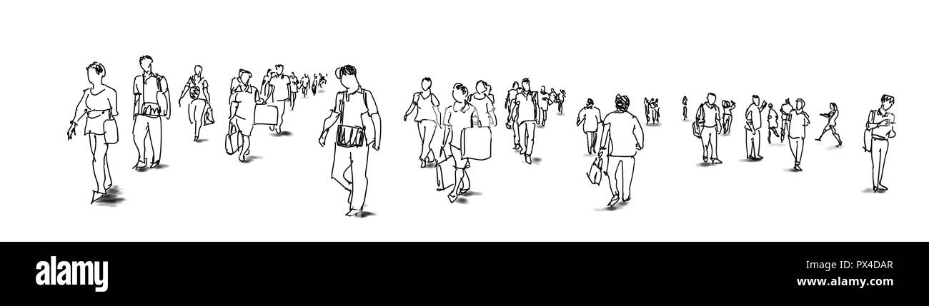 crowd of people walking ink sketch isolated on white background urban sketching panorama view - Stock Image